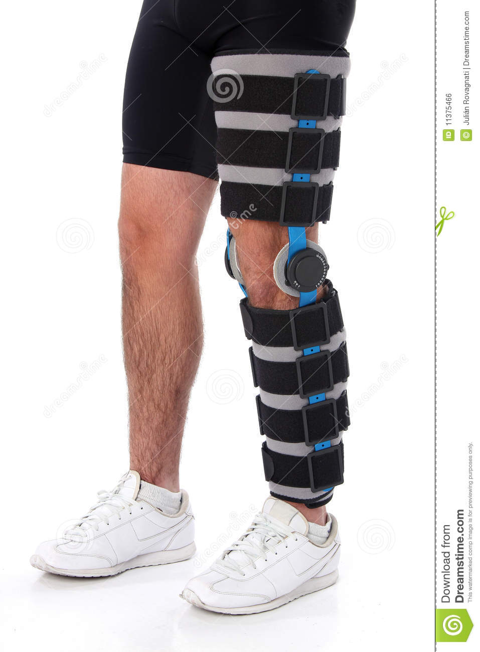 Brace Your Eyes The Most Beautiful Women On Earth: Man Wearing A Leg Brace Royalty Free Stock Image