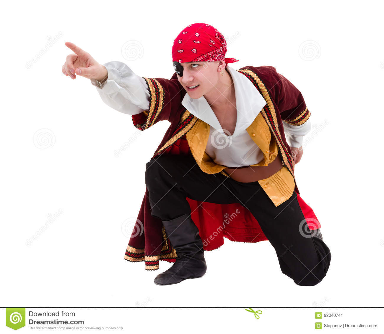 Man wearing a pirate costume posing with pointing gesture, isolated on white