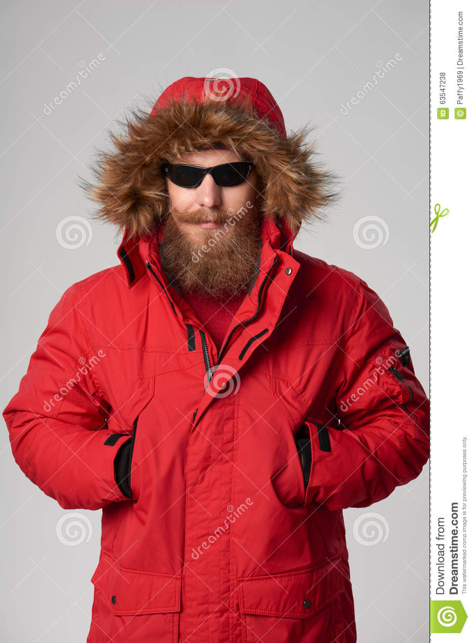 Man Wearing Red Winter Alaska Jacket With Fur Hood On Stock Photo Image 63547238
