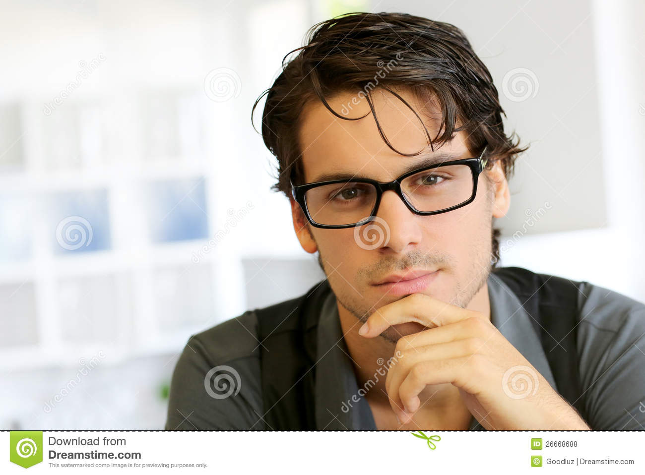 Man Wearing Trendy Glasses Stock Photo Image Of Cool