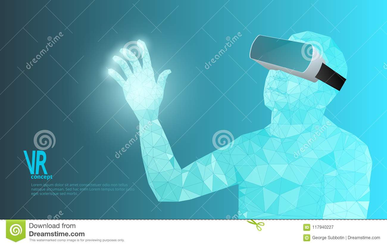 man wearing virtual reality glasses abstract vr advertising