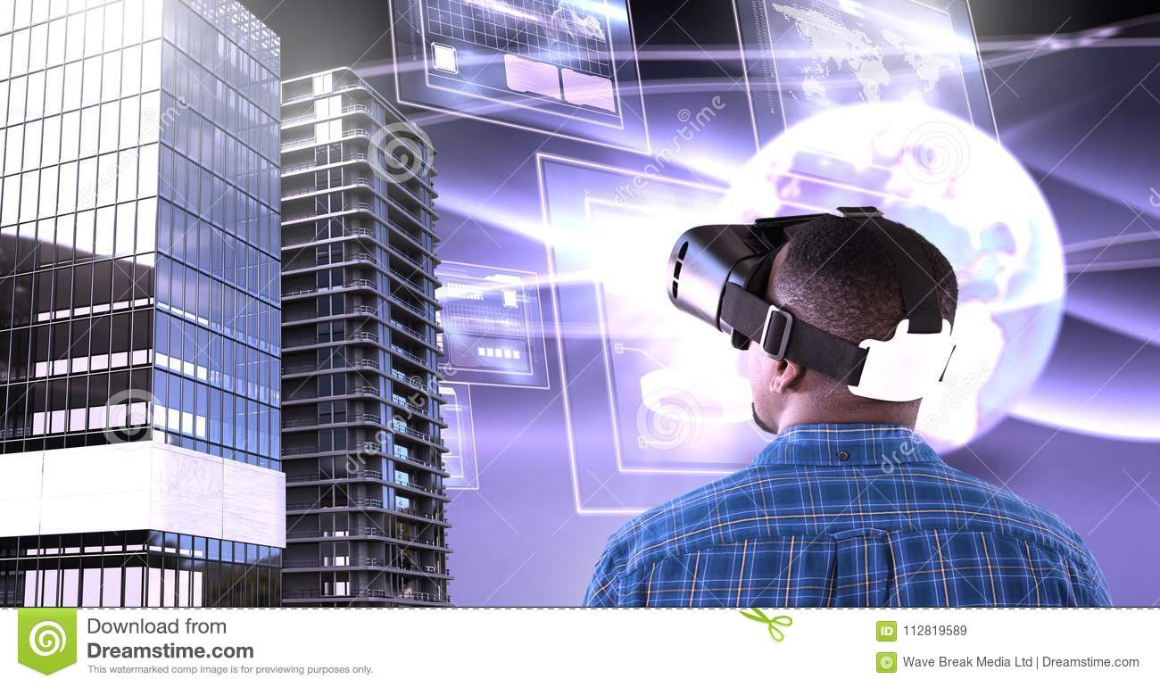 3564ddafbdc6 Digital composite of Man wearing virtual reality headset with Tall  buildings with world and screens interface