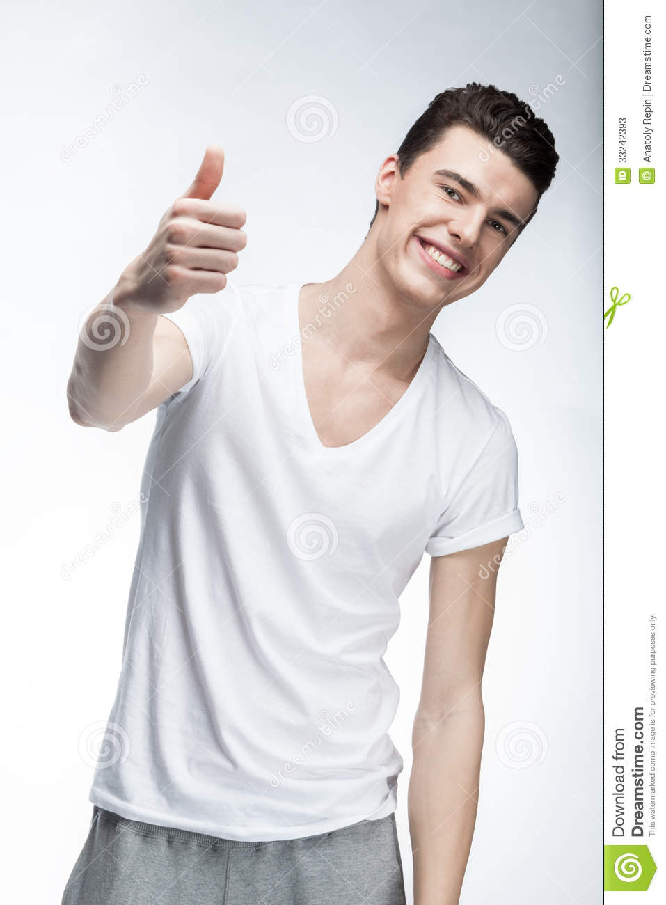 Man Wearing White T-shirt On Light Background Stock Photos - Image ...