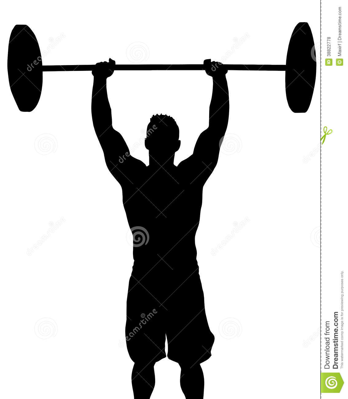 Man Weight Lifter With Weight Above Head Stock Vector