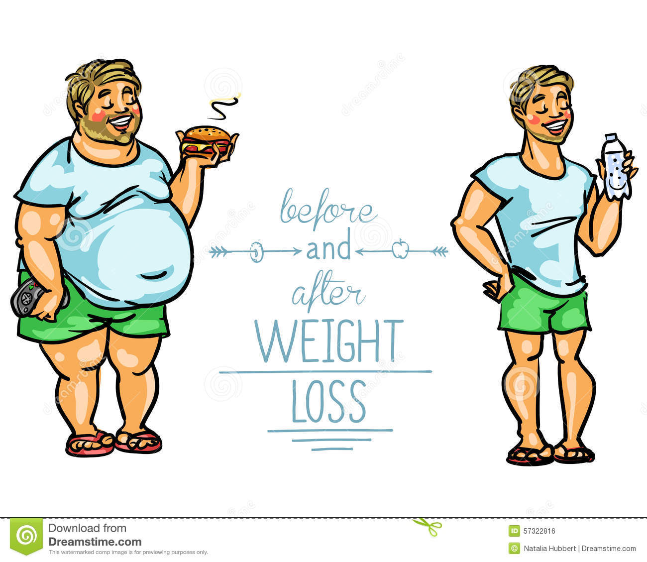 Man Before And After Weight Loss Stock Vector - Image: 57322816