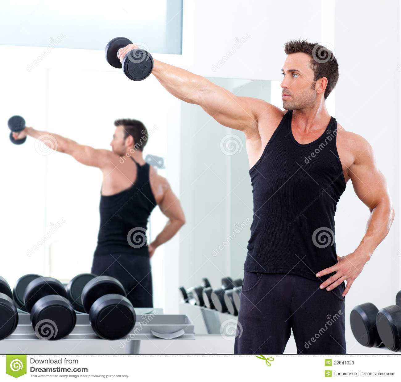 Man with weight training equipment on sport gym stock for Gimnasio sport gym