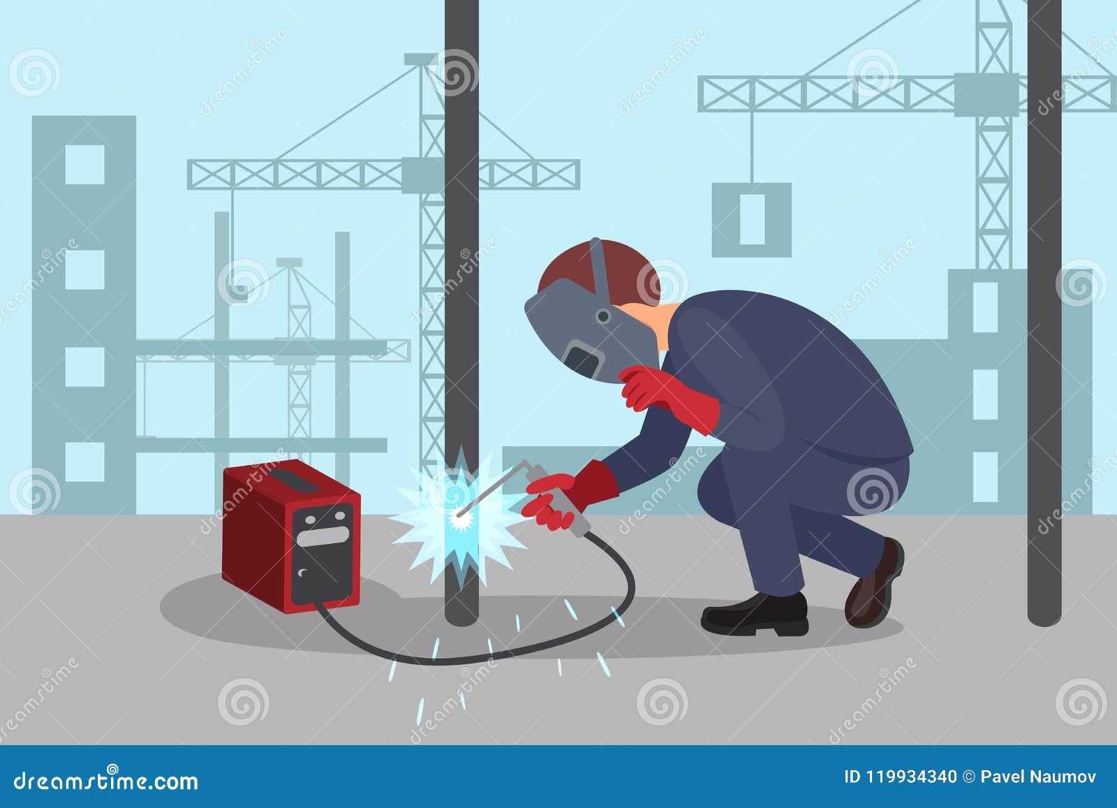 man welds steel construction by welding machine professional welder rh dreamstime com
