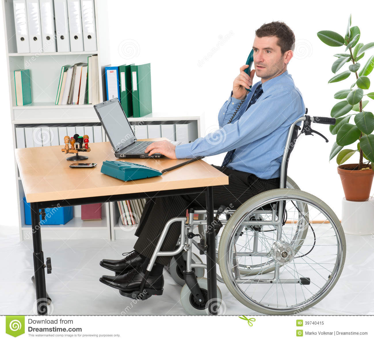 Man In Wheelchair In The Office Stock Photo Image 39740415