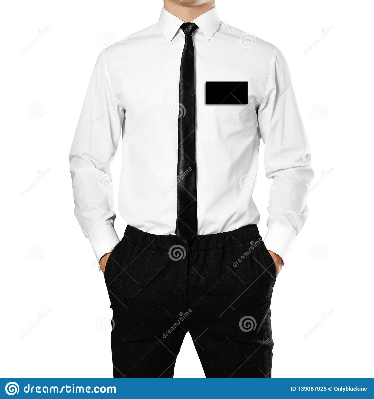 A man in a white shirt with a badge. Close up. Isolated on white background