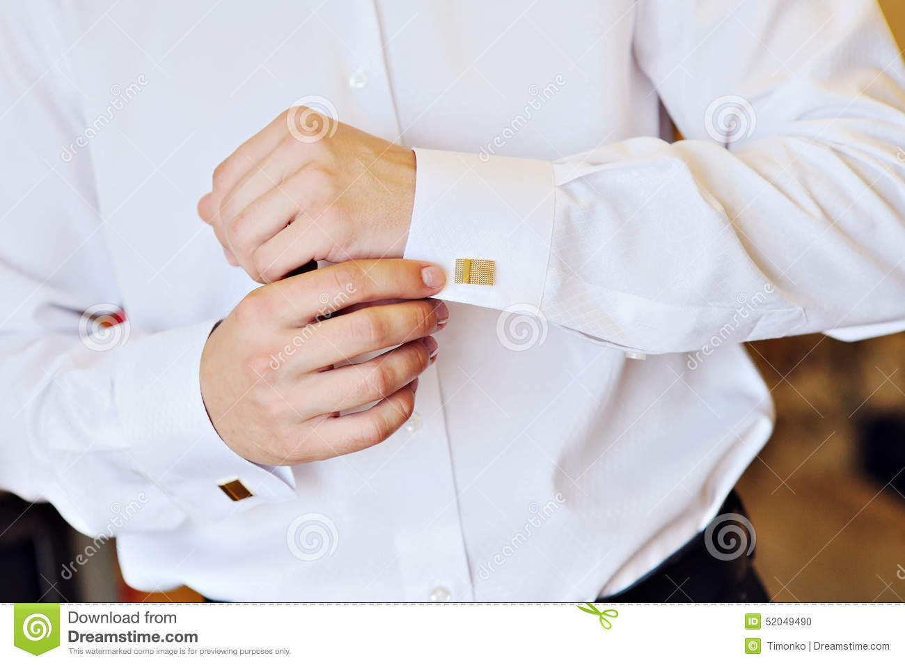 Man In A White Shirt Dress Cufflinks Stock Photo - Image: 52049490