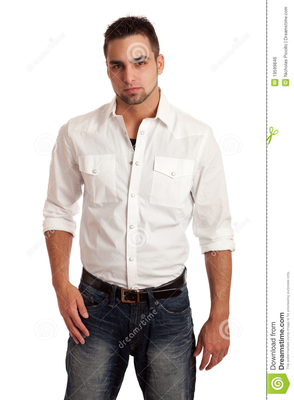 Man in white shirt and jeans stock photo image 19599846 for White pants denim shirt