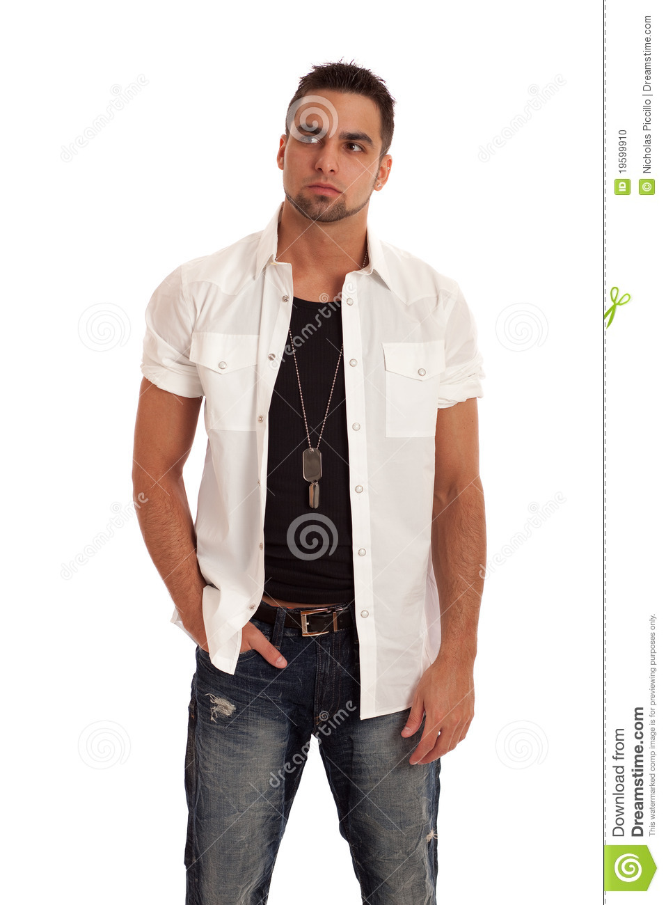 Man In White Shirt And Jeans Stock Photo - Image 19599910