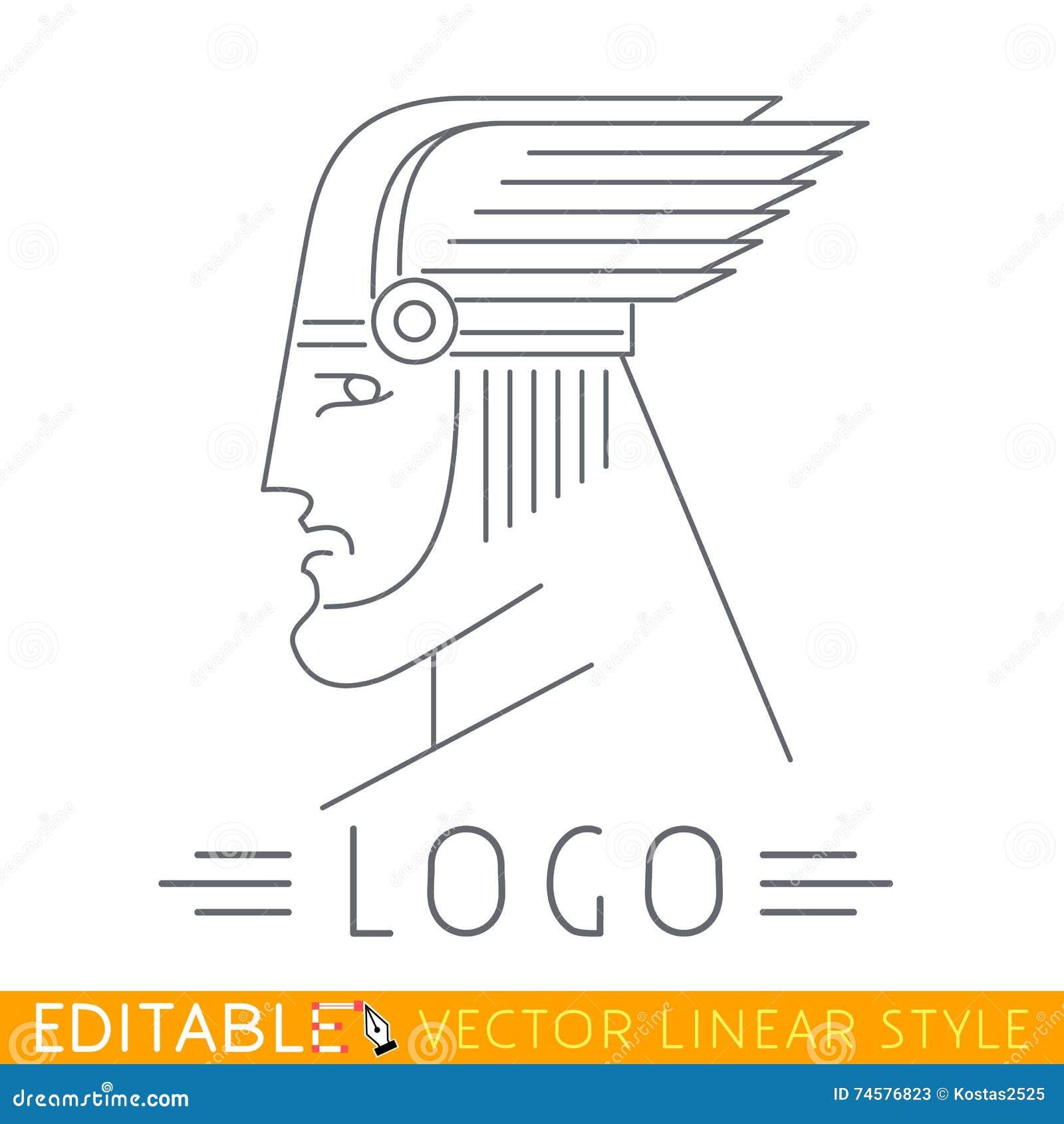 Man In Winged Helmet Head Of Greek Or Viking God Logo Template