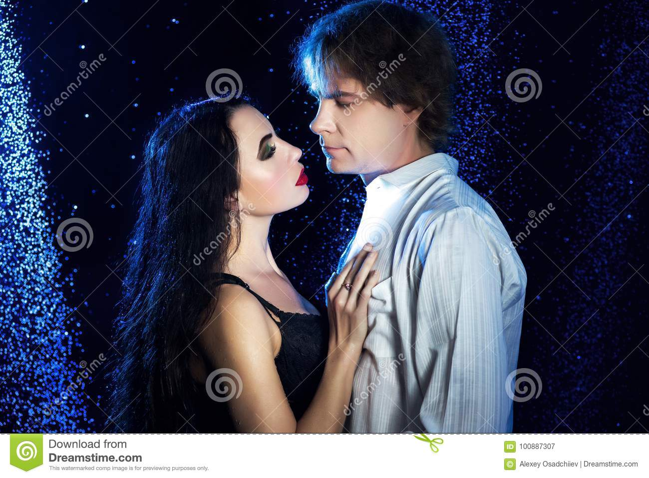 Lovers In The Shower Black And Blue Aqua Studio Couple Men Women Hug Love Sexy Beautiful Lady With Long Curly Hair