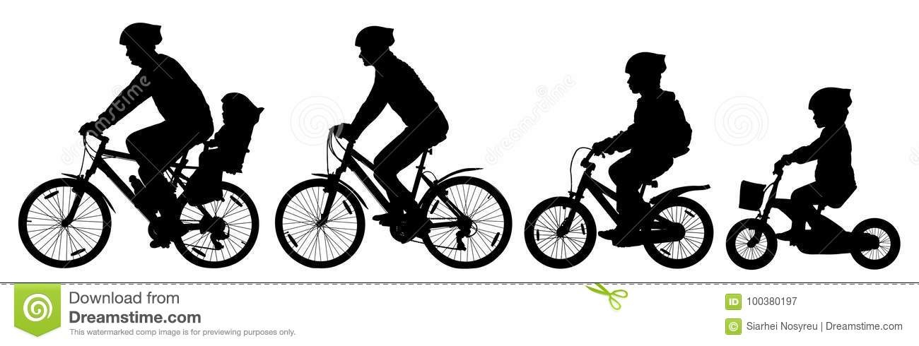 Man woman and children boy and girl on a bicycle riding on a bike, cyclist set, silhouette vector.
