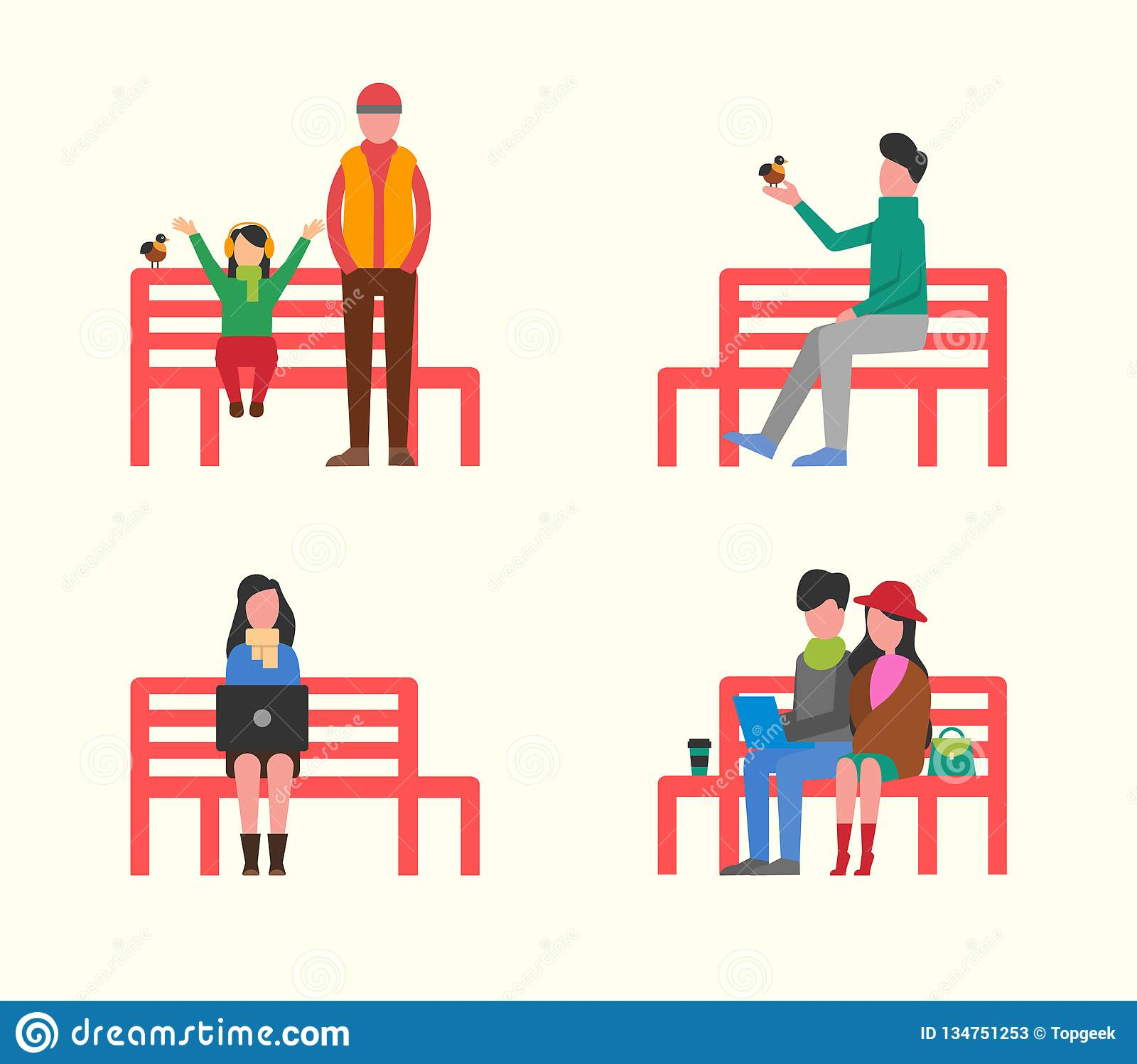 Pleasing Man And Woman Couple Sitting On Wooden Bench Stock Vector Machost Co Dining Chair Design Ideas Machostcouk