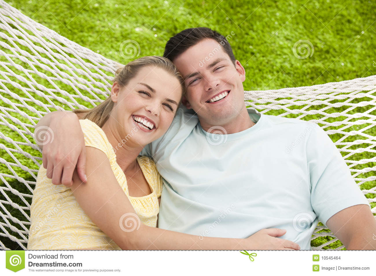 Man And Woman Cuddling In Hammock Stock Images Image