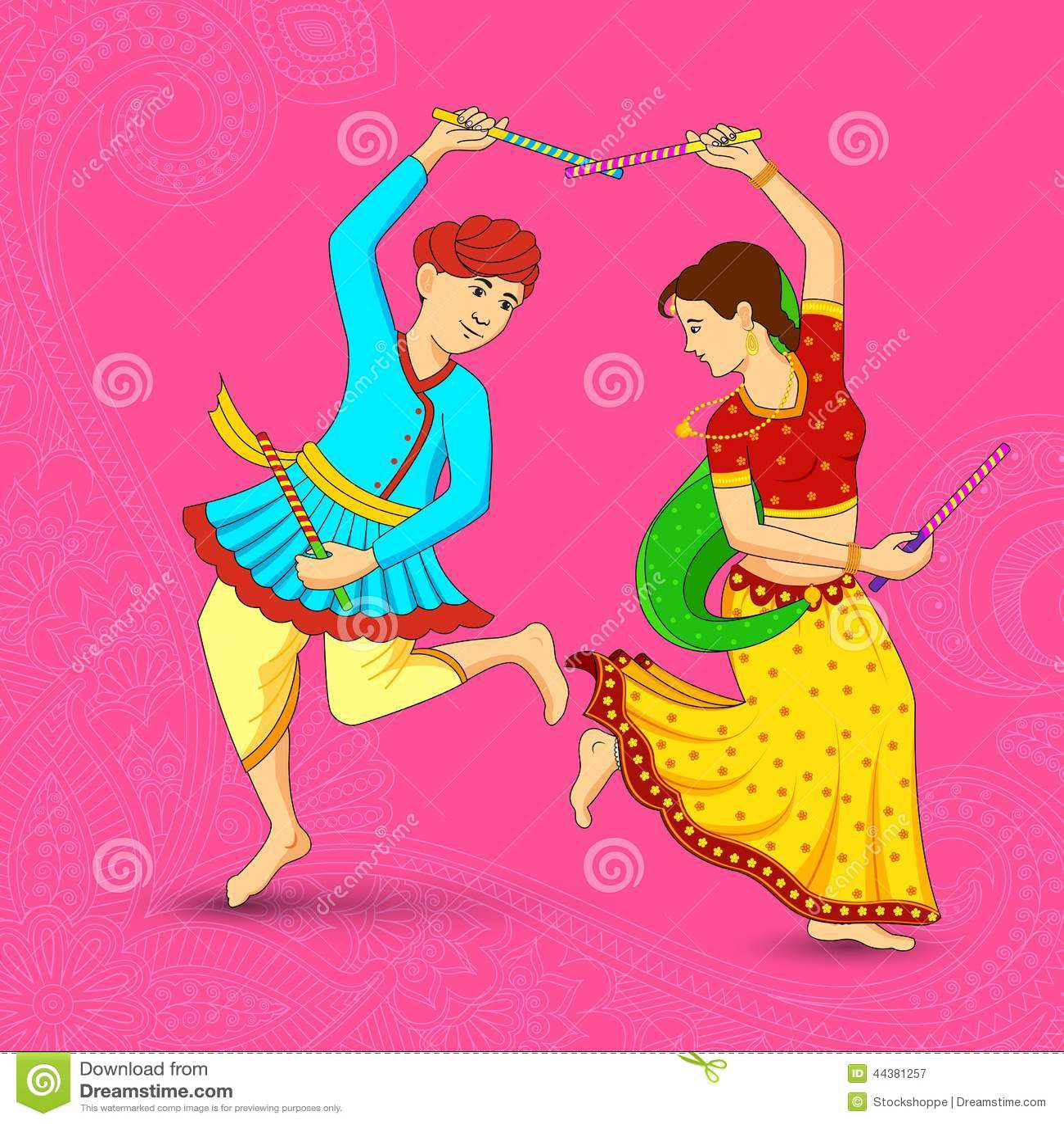 man and woman dancing on dandiya night stock vector