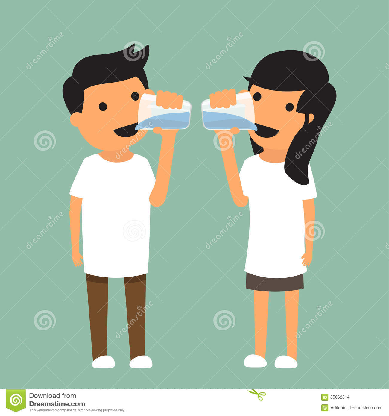 Man and woman drink enough water in health concept.
