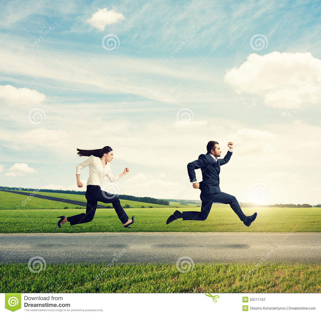 man running from women man and woman in formal wear ...