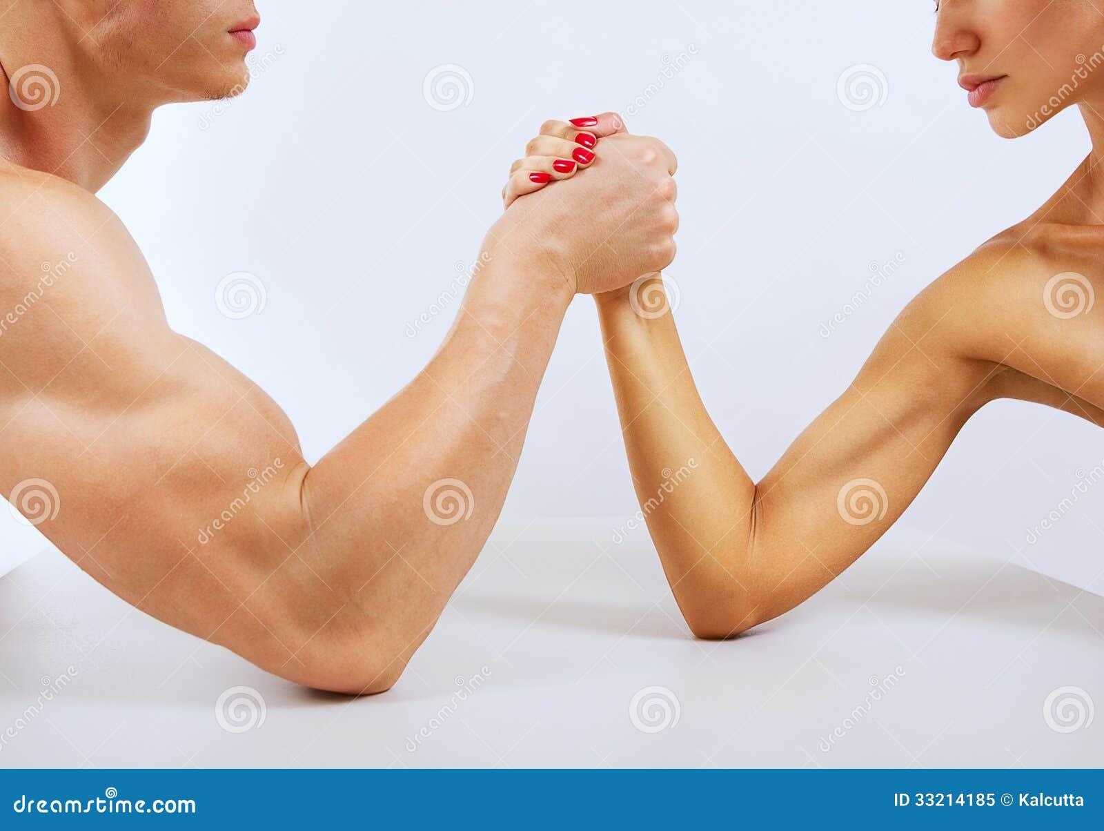 man vs woman nude wrestling