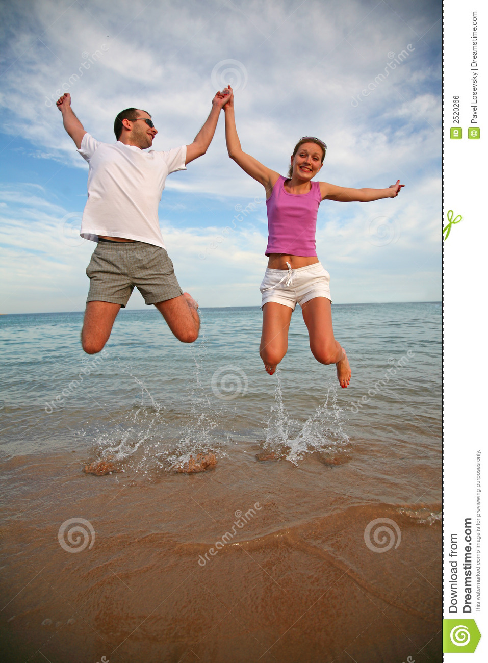 Man and woman jumping