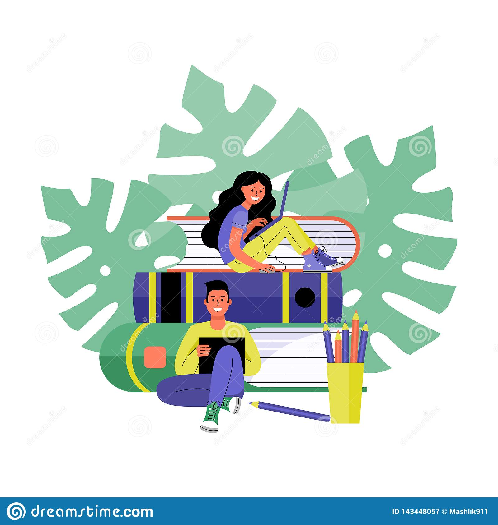 Man and woman with laptops. Online training and freelancing concept. Vector illustration.