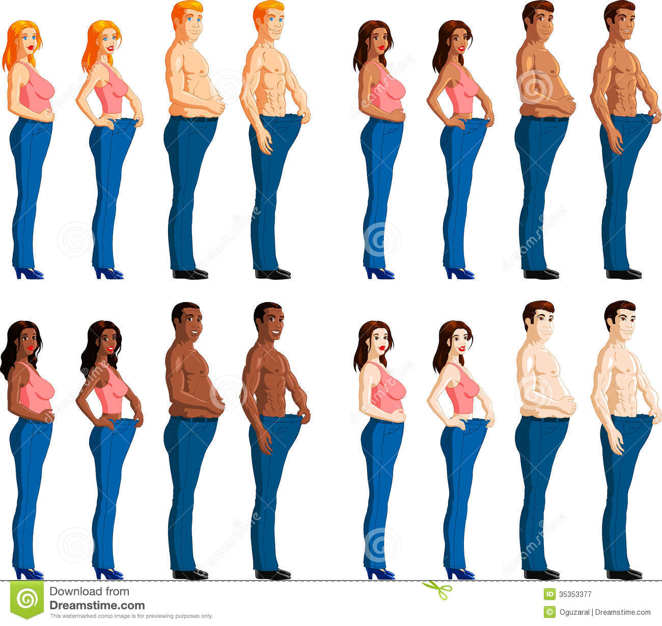 ... woman wearing trousers before and after weight loss, white background