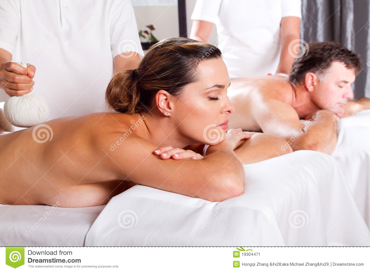 men massaging women