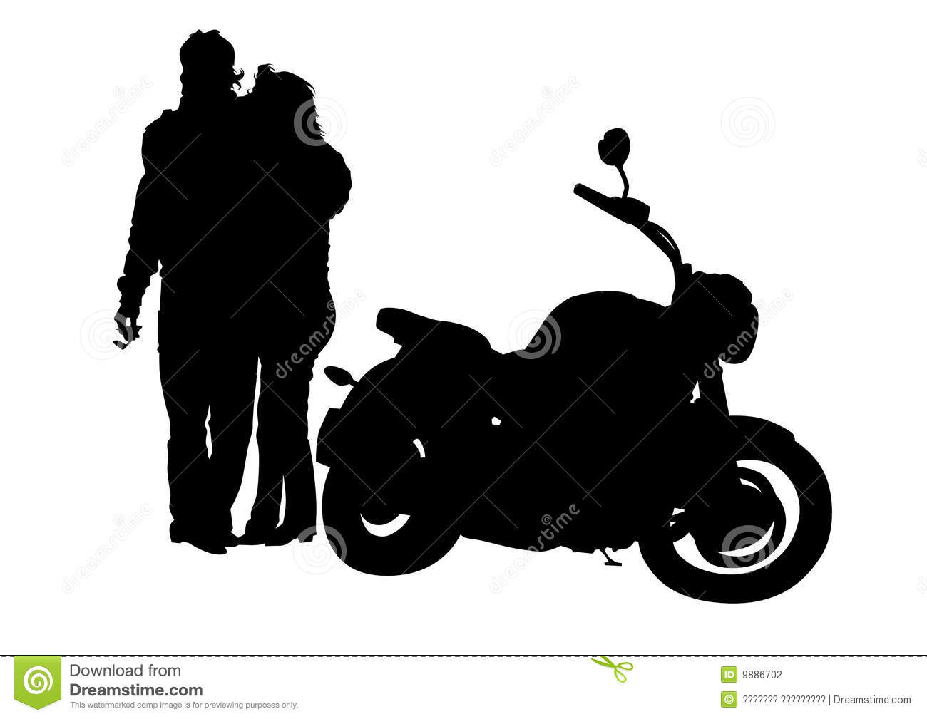 Man and the woman next to motorcycle