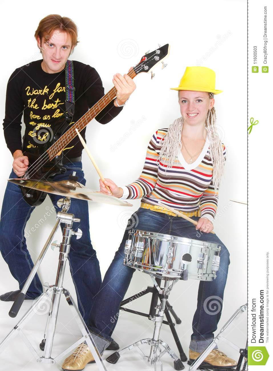 Man And Woman Playing Guitar And Drums Stock Image - Image -1841