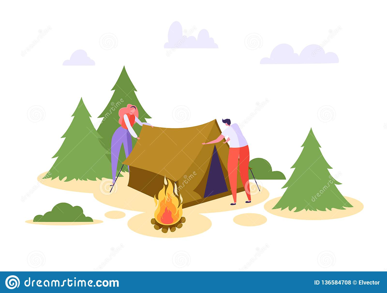 Man Woman Put Up Tent Forest Vacation. People Character Camp in Wildlife Nature Forest. Family Summer Picnic Campfire