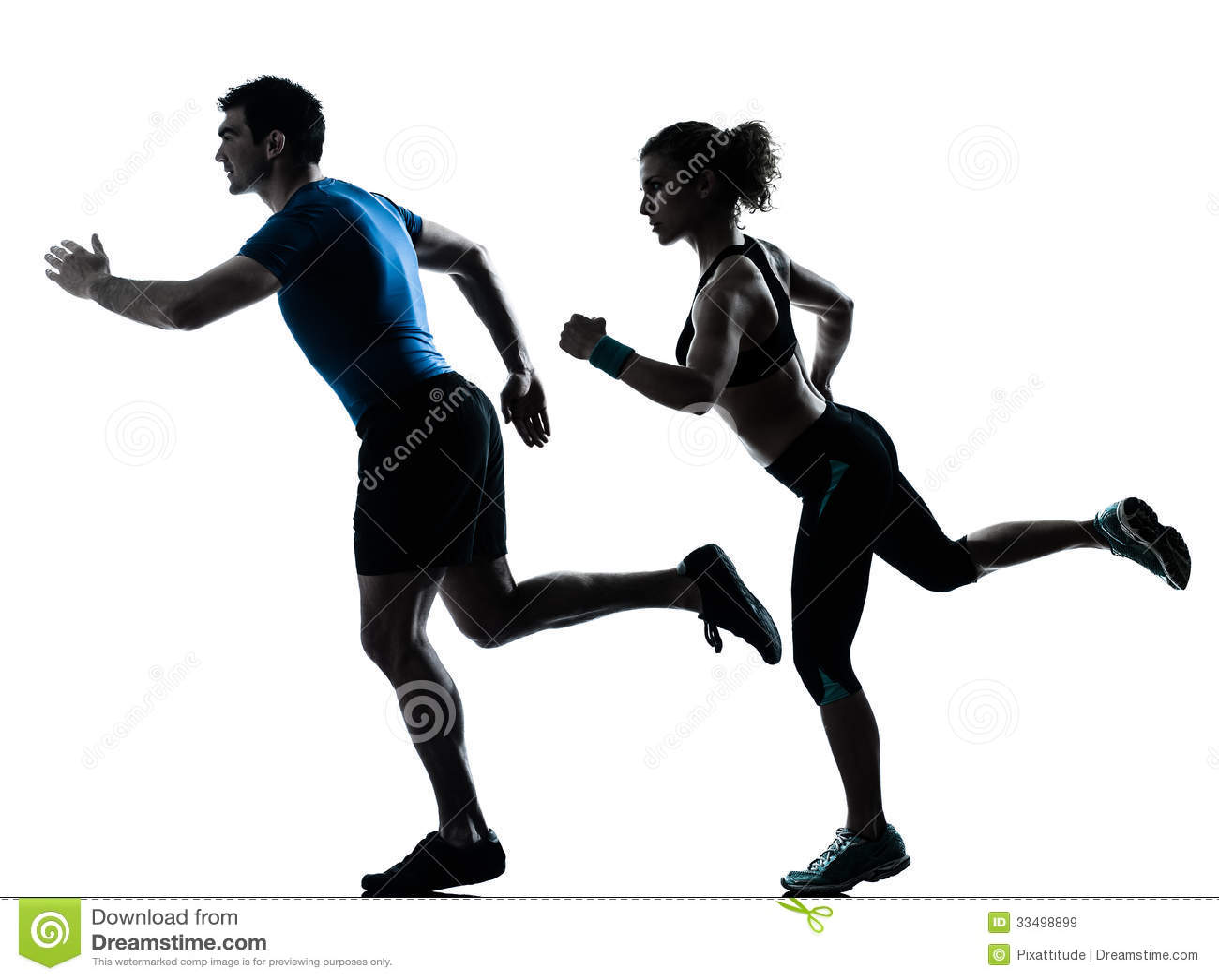 Man woman runner running jogging sprinting one caucasian couple men