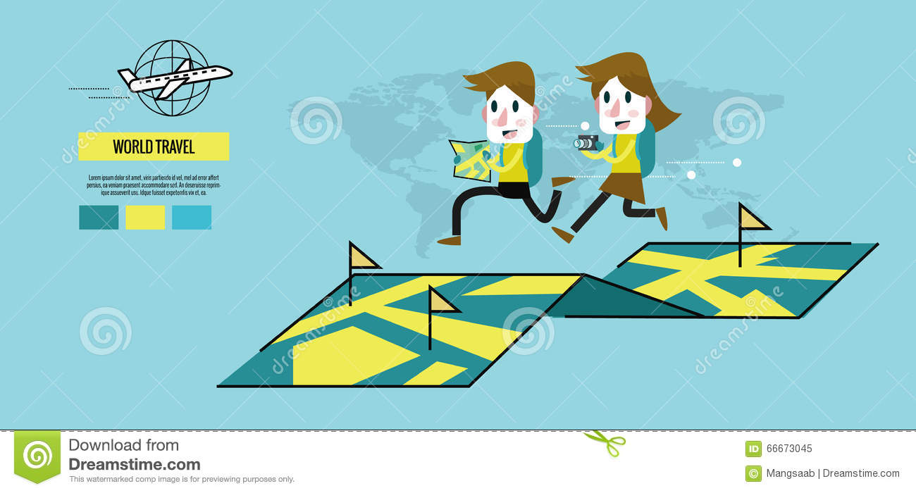 Man And Woman Running On The Map World Travel Concept Stock Vector Image