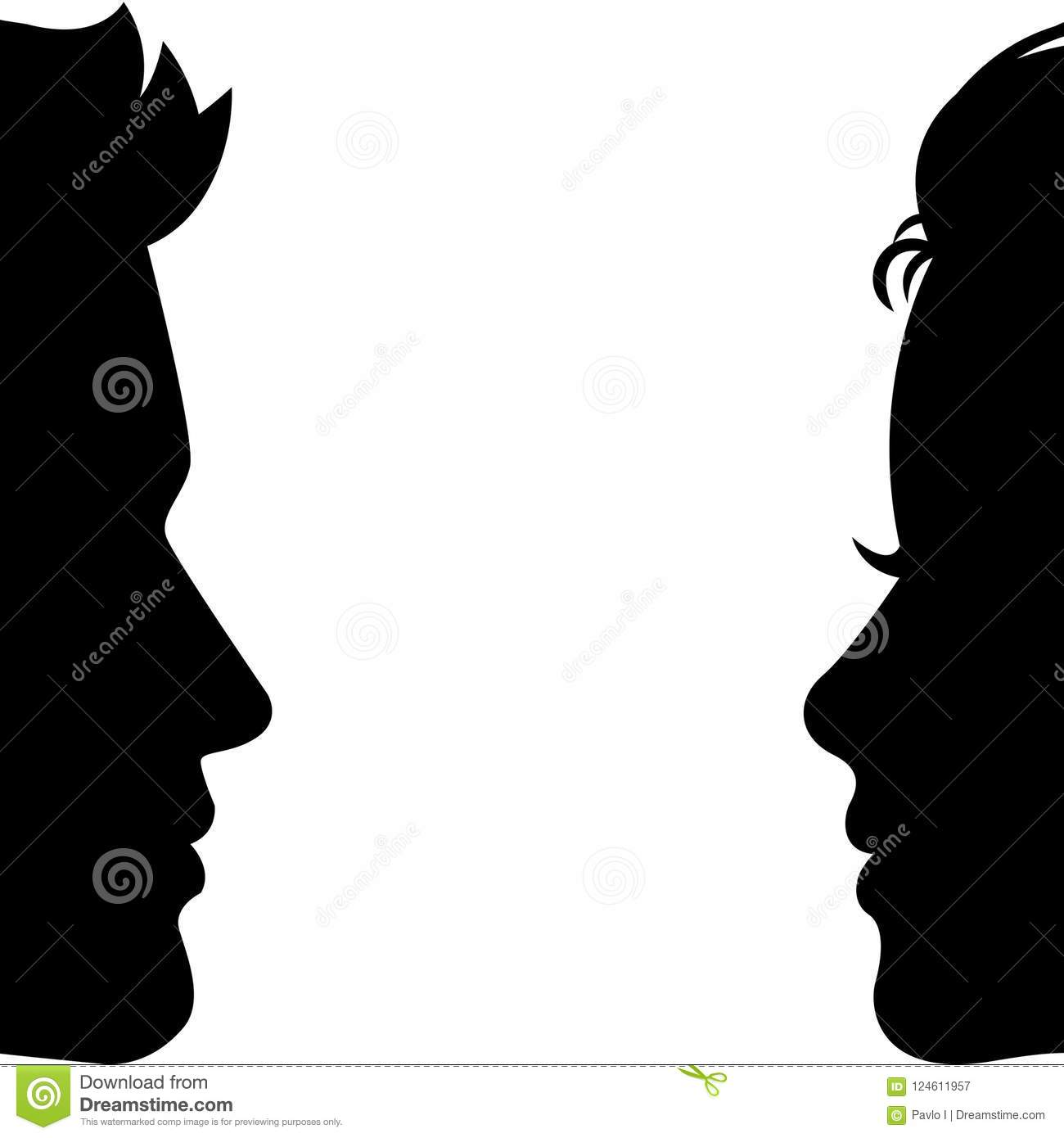 Man And Woman Silhouette Face To Face Vector Stock Illustration Illustration Of Colleague Badge 124611957