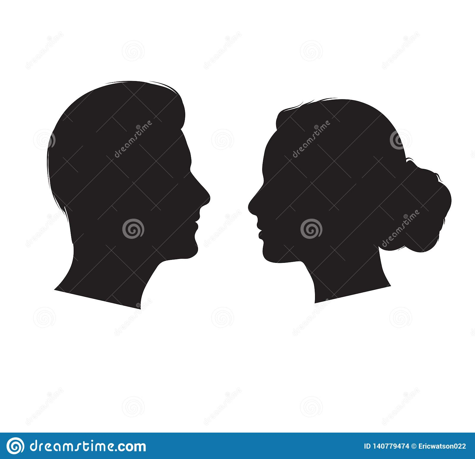 Man And Woman Silhouette Face To Face Vector Stock Vector Illustration Of Edge Element 140779474