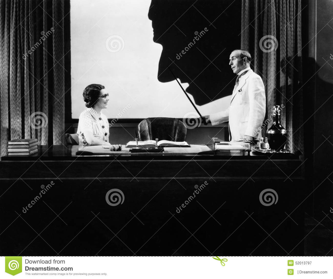 Man and woman with silhouette of huge nose
