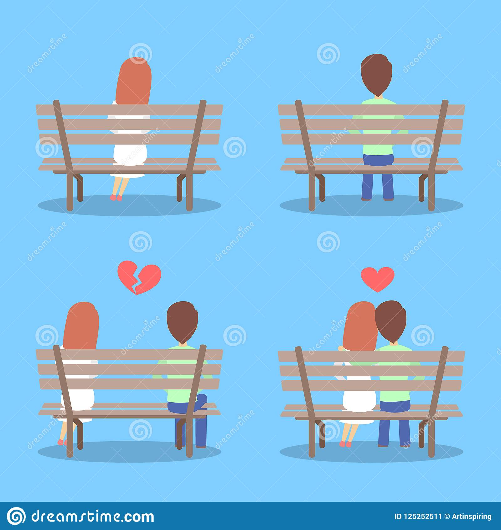 Man And Woman Sitting On The Bench, Falling In Love And Breaking Up