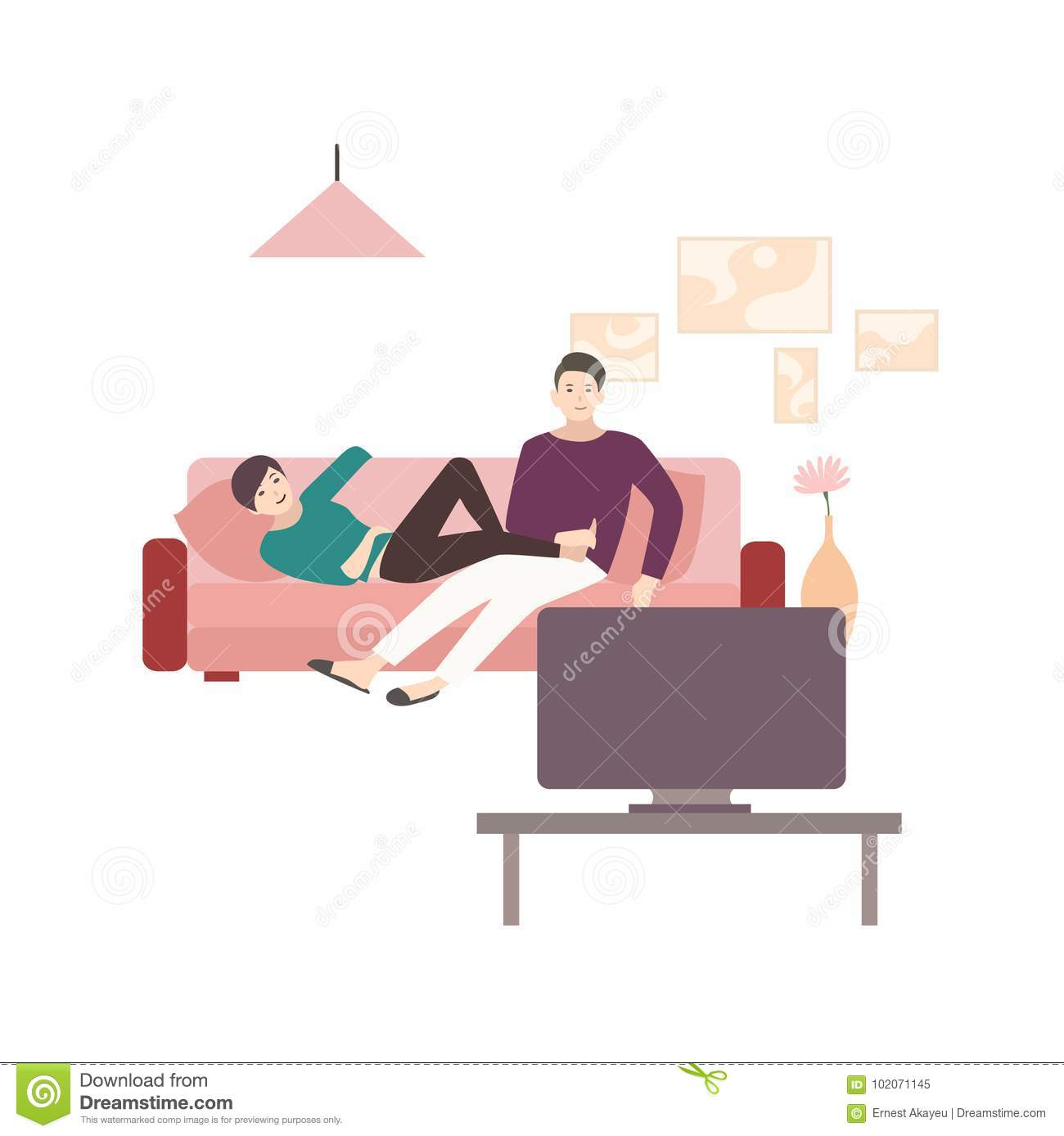 Man And Woman Sitting And Lying On Comfortable Sofa And Watching TV ...