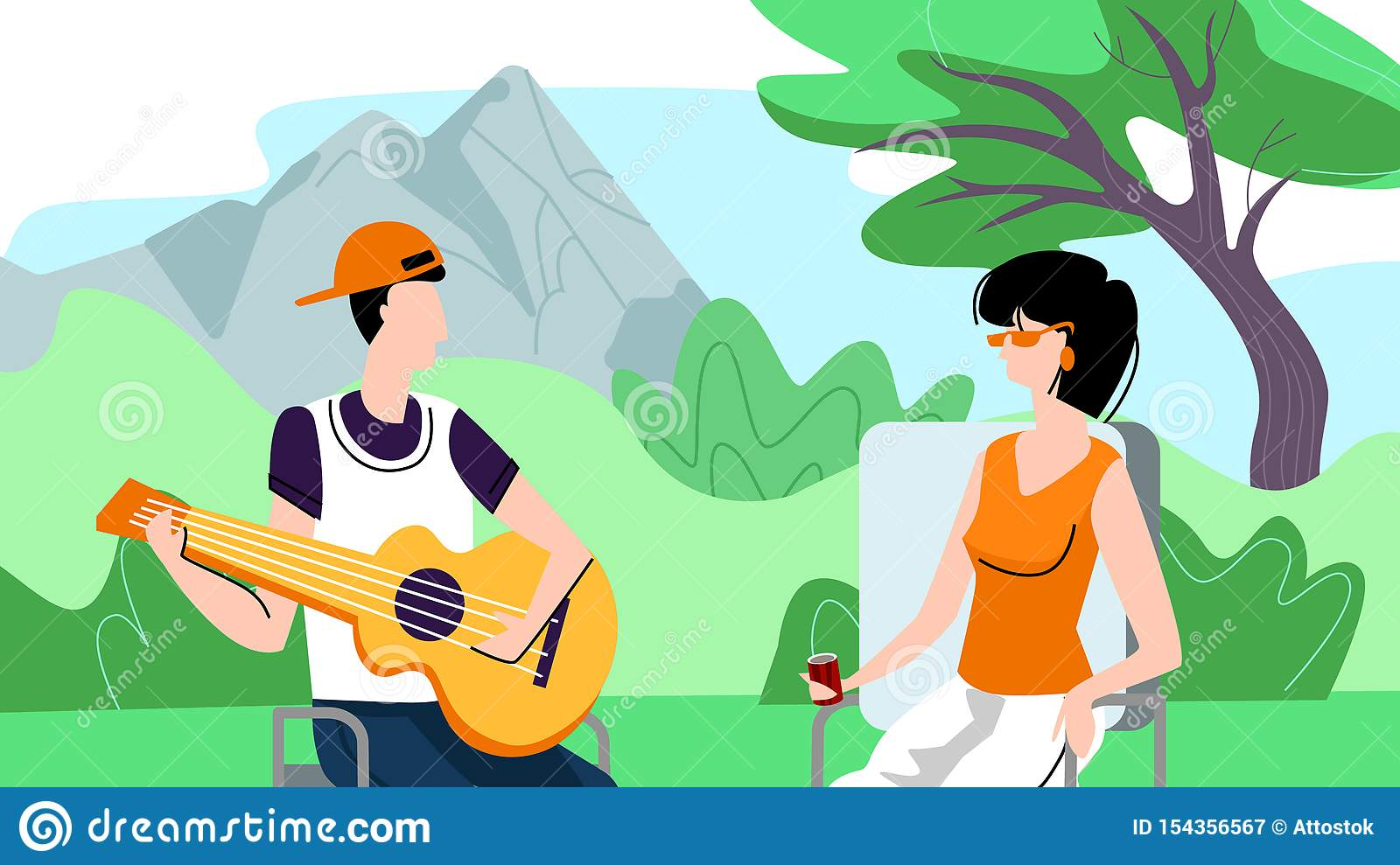Man and Woman Spend Time Outdoors on Picnic, Camp