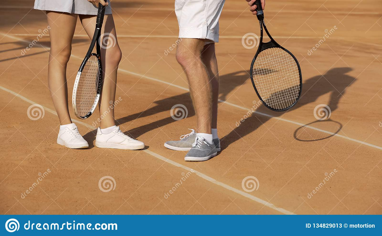 Man And Woman Standing On Court And Talking About Last Tennis Match Hobby Stock Image Image Of Competitive Leisure 134829013