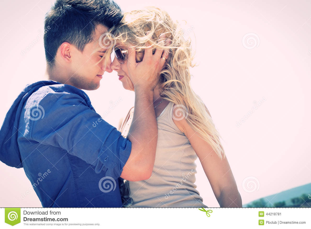 Man And Woman Standing Passionately Nose To Nose Stock ...