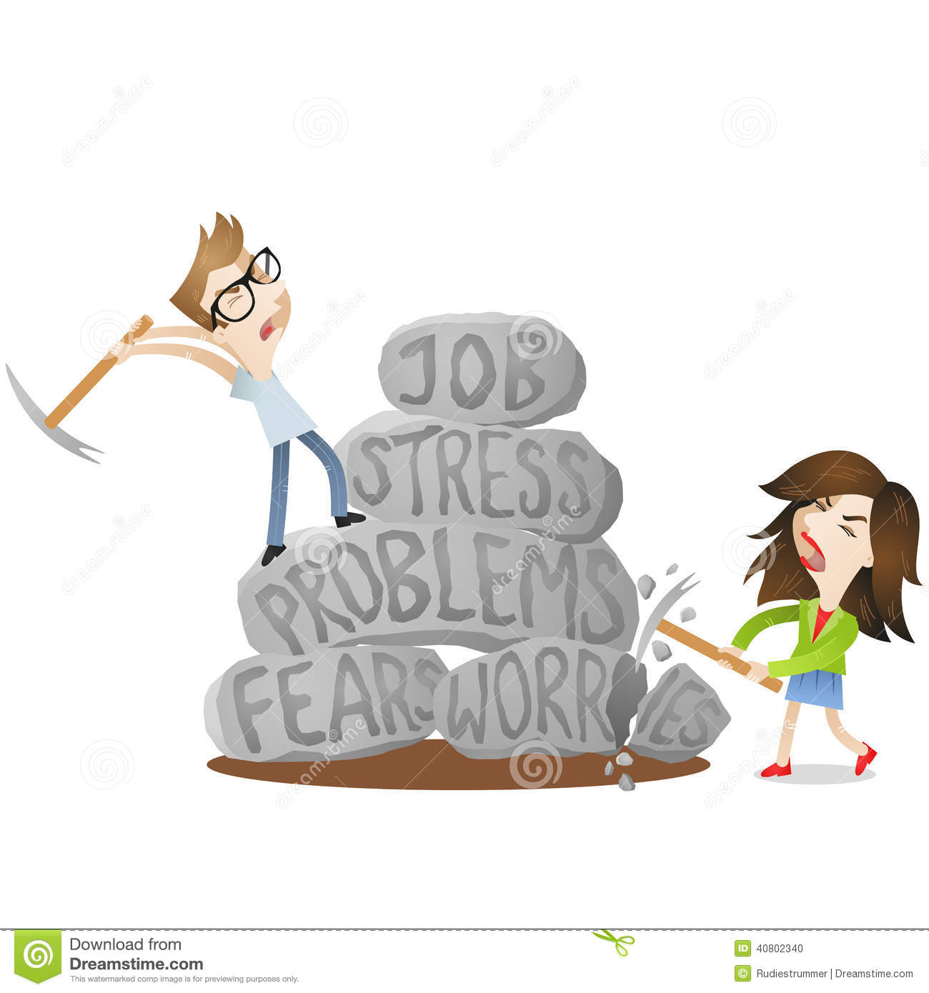 ... woman smashing rocks labeled job, stress, problems, fears, worries
