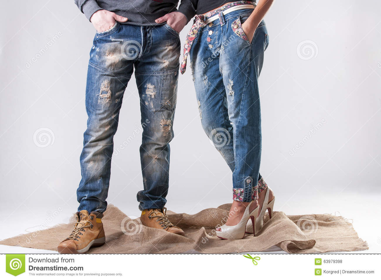 Man And Woman In Stylish Jeans Stock Photo - Image: 63979398