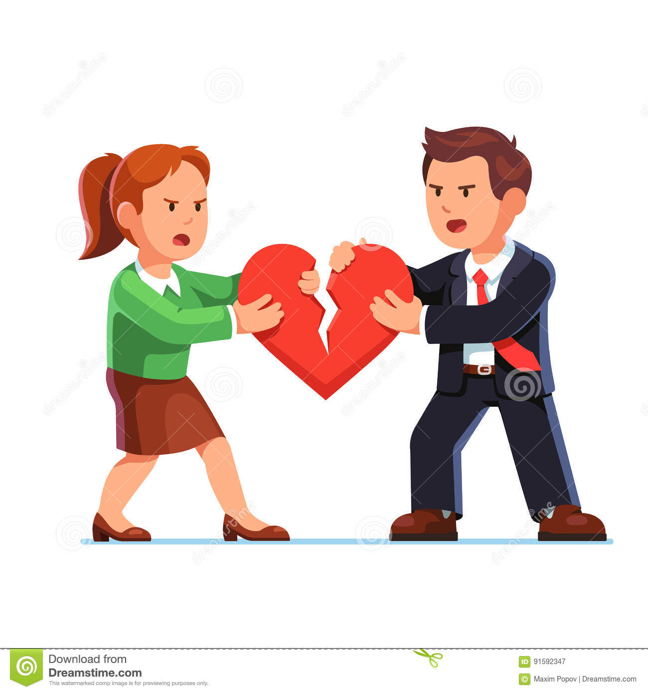 Love Each Other Cartoon: Man And Woman Tearing Red Heart In Halves Stock Vector