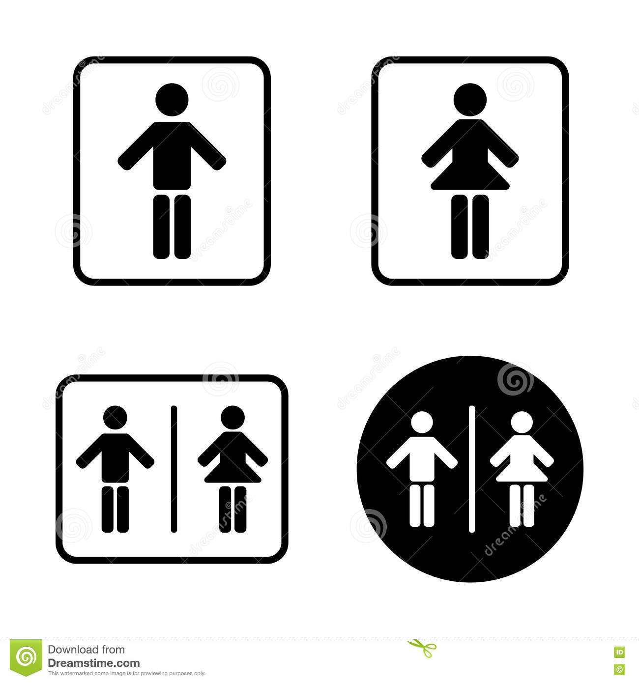 Man And Woman Toilet Sign Icons Stock Vector Illustration Of