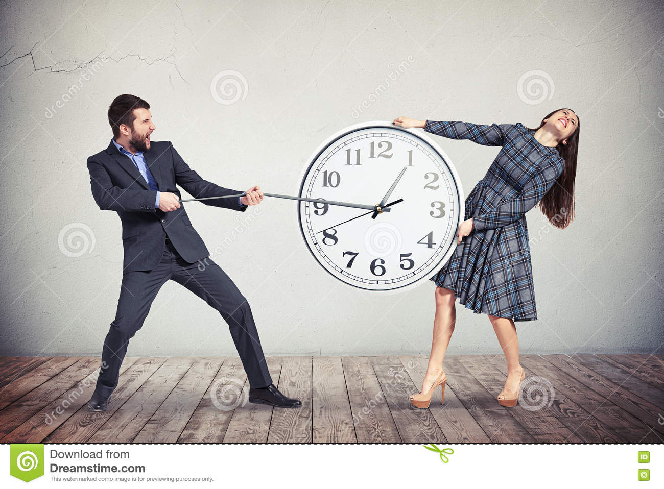 Man and woman are trying to slow down the time