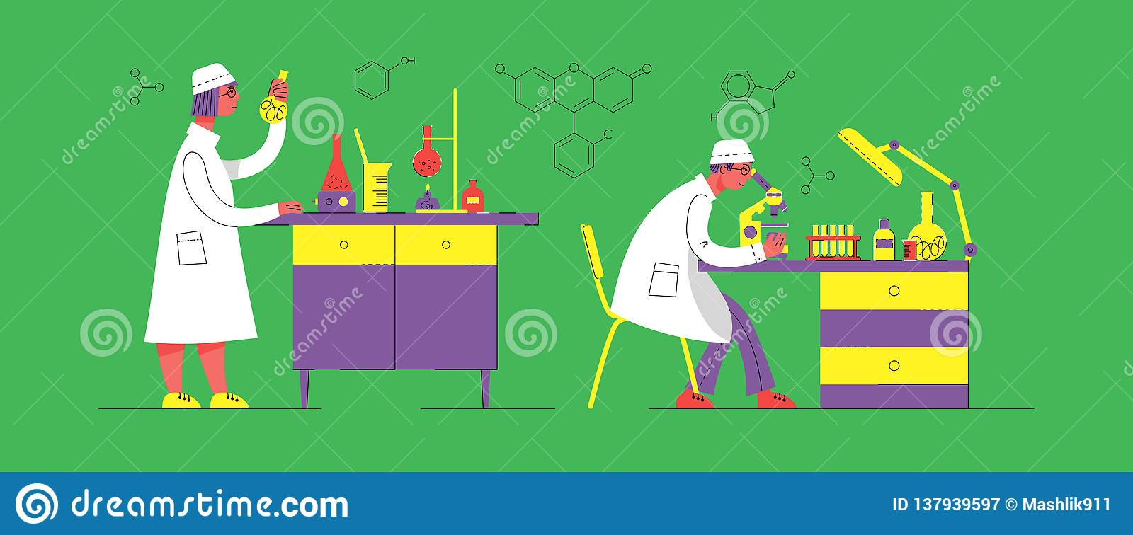 A man and a woman in uniform are working in a laboratory. Chemical and Biological Laboratory.