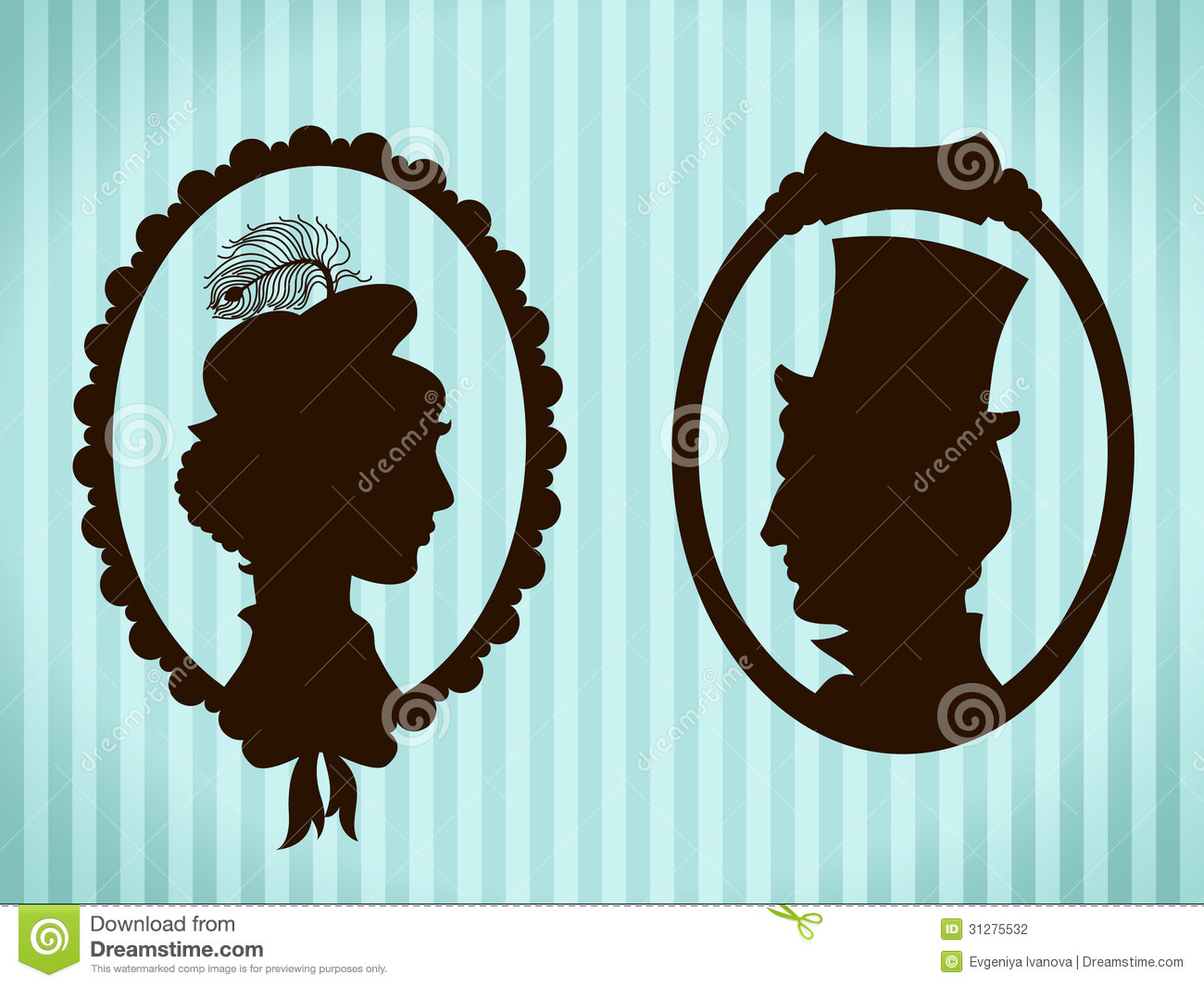 Man And Woman Vintage Silhouettes Stock Illustration ...