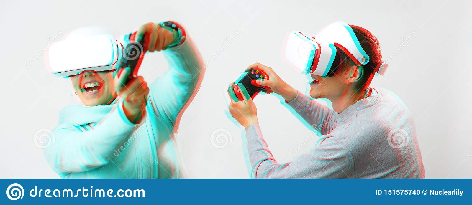 Man and woman with virtual reality headset are playing game. Image with glitch effect.